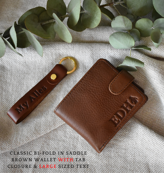 Genuine Leather Bi-Fold Wallet and Keyring Set- Made in South Africa with personalisation