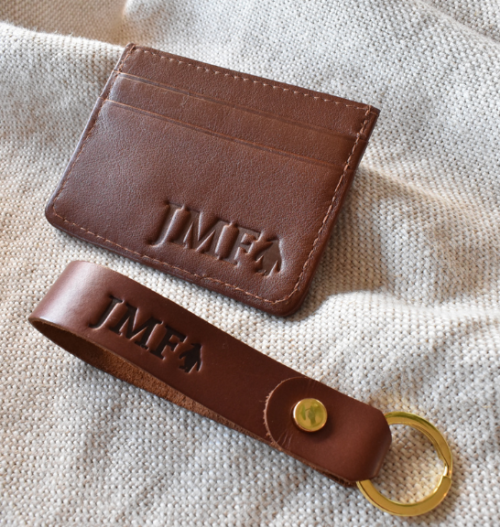 Genuine Leather Classic Double sided Card holder and Keyring Set- Made in South Africa with personalisation