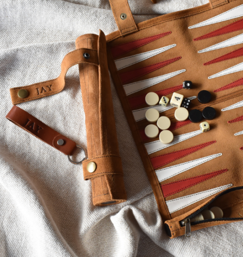 Genuine Leather Roll Up Backgammon and Keyring Set- Made in South Africa with personalisation