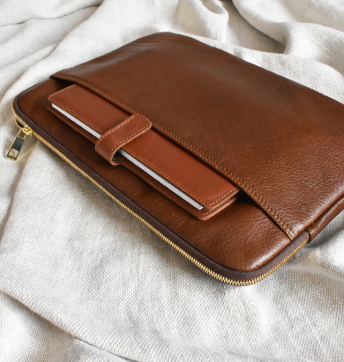 Genuine Leather Silky Saddle Brown 13 inch Laptop or Macbook sleeve. HandCrafted in South Africa with personalisation