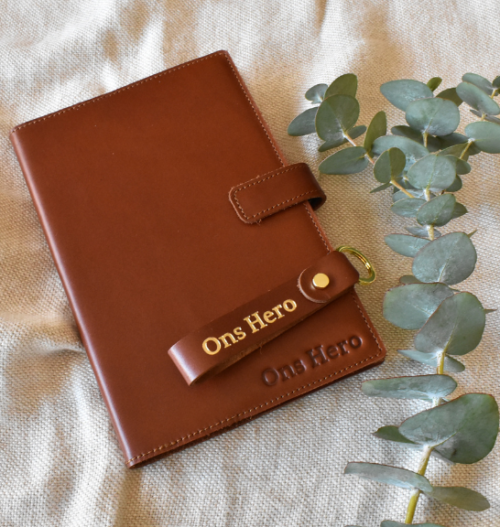 Genuine Leather Slip-On Cover with Notebook and Keyring Set- Made in South Africa with personalisation
