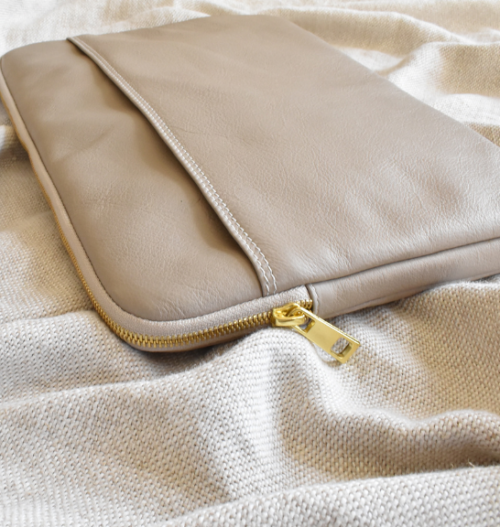 Genuine Leather Taupe 13 inch Laptop/Macbook sleeve. Hand Crafted in South Africa with personalisation