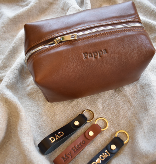 Genuine Leather Large Loaf Bag and Keyring Set- Made in South Africa with personalisation