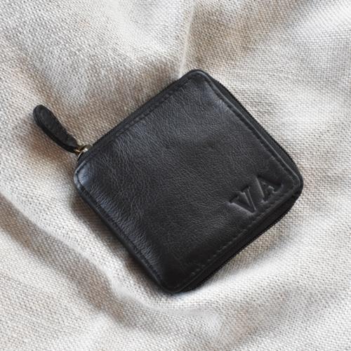 Genuine Leather Black Bi-Fold wallet with custom personalisation