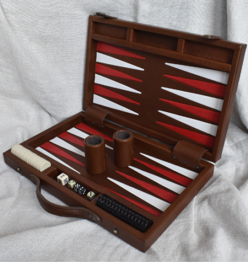 Genuine Leather Box Set Backgammon- Made in South Africa with Optional Personalized Luggage Tag