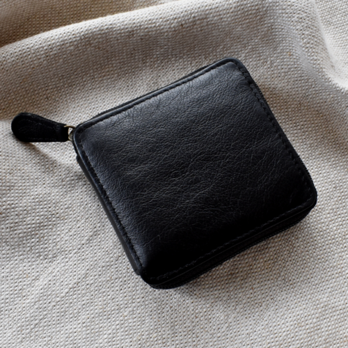 Genuine Leather Classic Black Zipped Bifold Wallet Made in South Africa with Personalisation Journey Leather