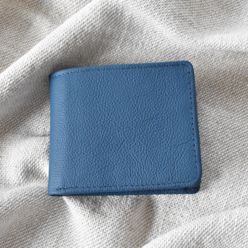 Genuine Leather Ocean Blue Bifold Wallet with Personalisation Journey Leather