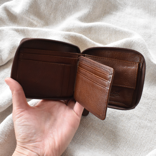 Genuine Leather Saddle Brown Zipped Bifold Wallet Made in South Africa with Personalisation Journey Leather