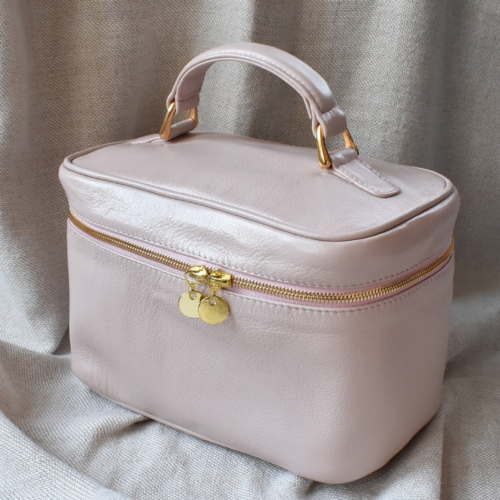 Genuine Leather Pink Cosmetic Vanity Made in South Africa