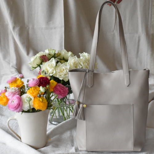 Genuine Leather Taupe/Stone Holdall Tote Handbag -Made in Cape Town South Africa